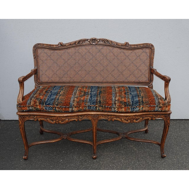1970s Vintage Martin of London French Country Brown Ornately Carved Cane Settee For Sale - Image 5 of 13