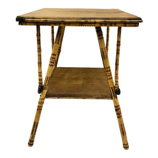 Antique Scorched Bamboo Table For Sale