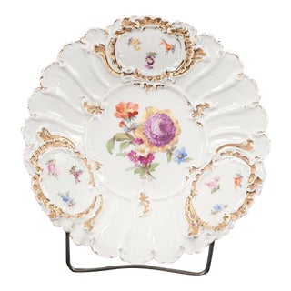Meissen Porcelain Plate With Floral & Gold Gilt Decoration For Sale