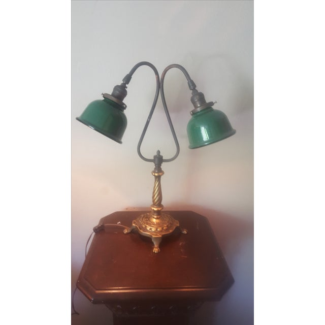 Vintage Industrial Two Arm Accent Lamp With Metal - Image 2 of 8
