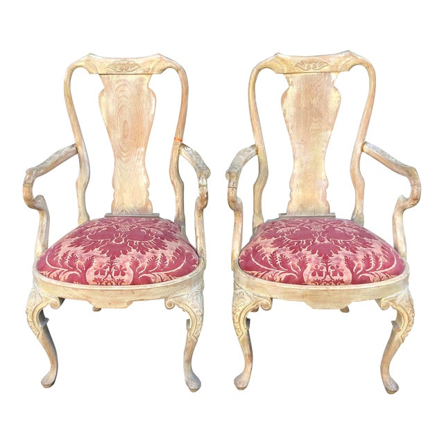 Pair of Antique George III Fortuny Designer Arm Chairs For Sale