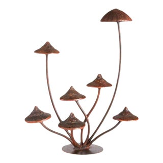 Kenneth Ludwig Chicago Weathered Metal Mushroom Sculpture For Sale