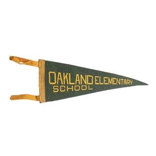 Vintage Oakland Elementary School Felt Flag Pennant For Sale
