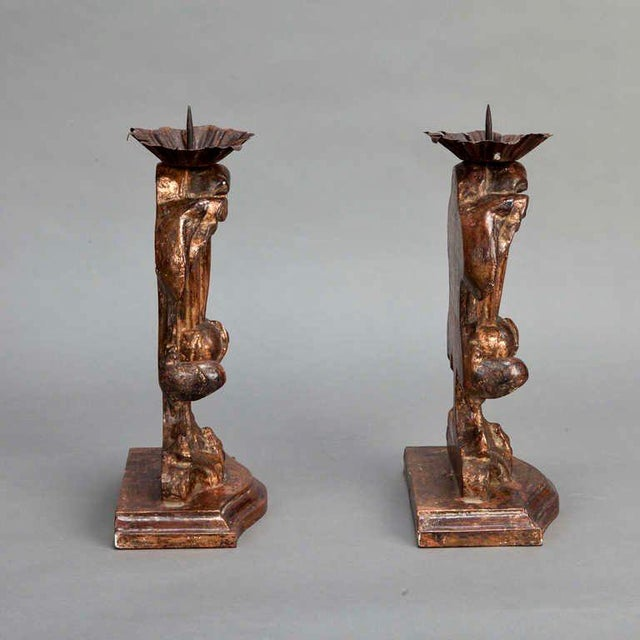 Italian Bronze Carved Wood Candle Holder Amphoras - A Pair For Sale - Image 5 of 5