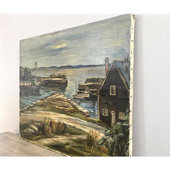 "Impressionism 1940s Original ""New England Wharf Harbor"" Signed Oil Painting by Vetold Pasternacki For Sale - Image 3 of 11"