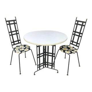 Mid Century Modern Wrought Iron Bistro Set - 3 Pieces For Sale