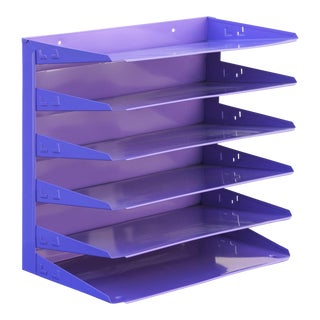 Retro Office Mail File Organizer Refinished in Lilac