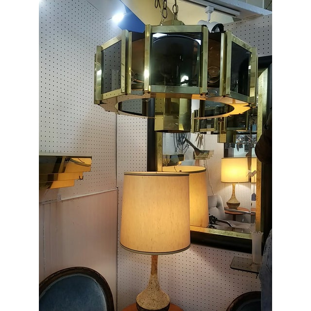 1960s Vintage Mid Century Fredrick Ramond Signed Modern Brass and Smoked Glass Chandelier For Sale - Image 5 of 8