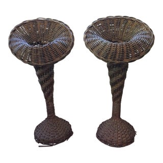 Antique Wicker Florist Vases - a Pair For Sale