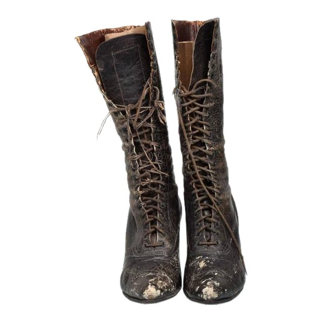 Pair of Ladies Victorian High-Top Leather Boots For Sale