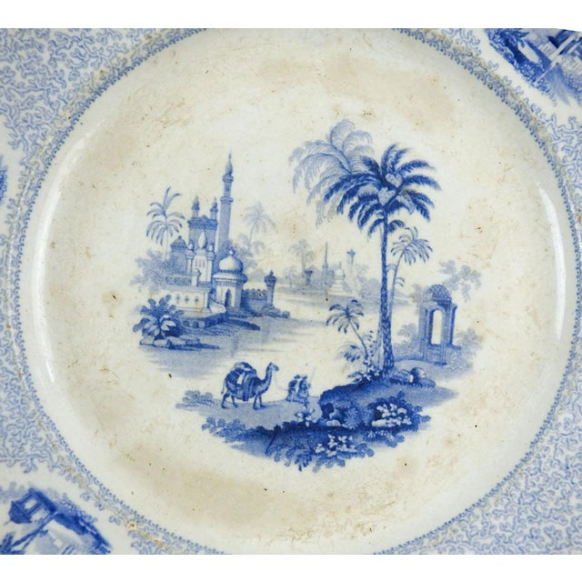 Circa 1850's blue and white transferware plate. Made by William Ridgeway in the Euphrates pattern. Middle eastern pattern...