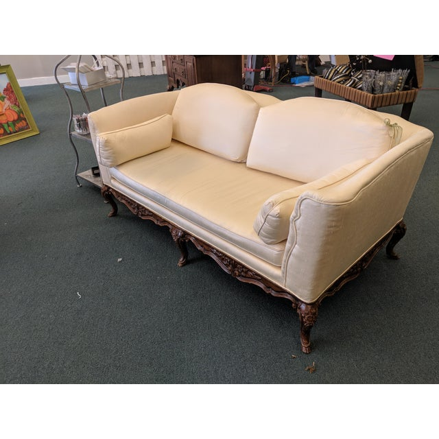French Silk Upholstered Settee With Hand-Carved Wooden Base For Sale - Image 9 of 9