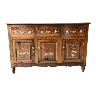 Indian Imported Three Panel Stone Inlaid Rosewood Sideboard For Sale