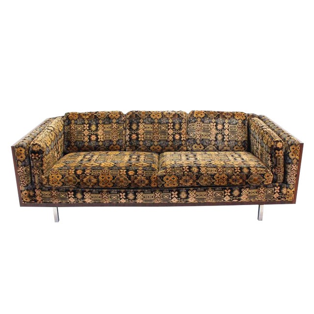 Mid-Century Modern Chrome and Rosewood Sofa For Sale