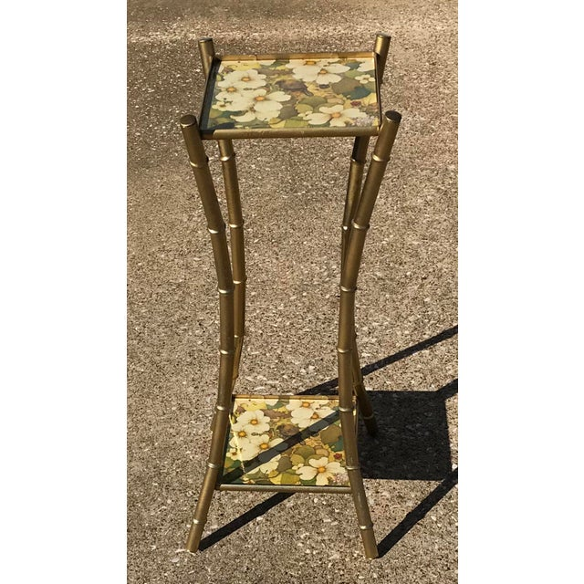 Vintage Faux Bamboo Side Table Plant Stand - Image 2 of 10