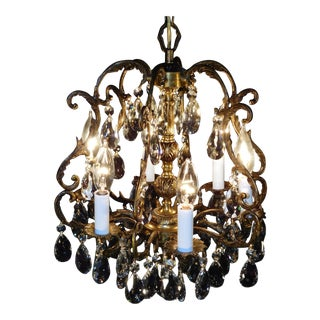 Vintage French 6 Lite Petite Brass Bronze Birdcage Cut Lead Crystal Chandelier For Sale