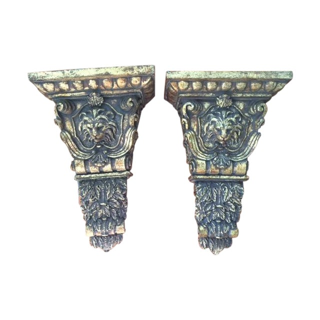 Gold Lion Head Sconces/ Wall Brackets - Pair For Sale
