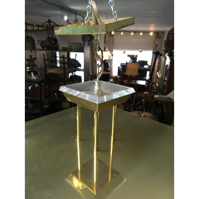 Fredrick Ramond Post Modern Square Brass & Glass Chandelier For Sale - Image 11 of 11
