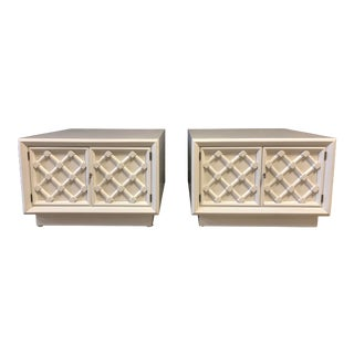 White Lacquered Nightstands/Chests For Sale