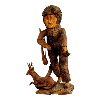 1920 Rustic Black Forest Root Wood Hunter Figurine For Sale