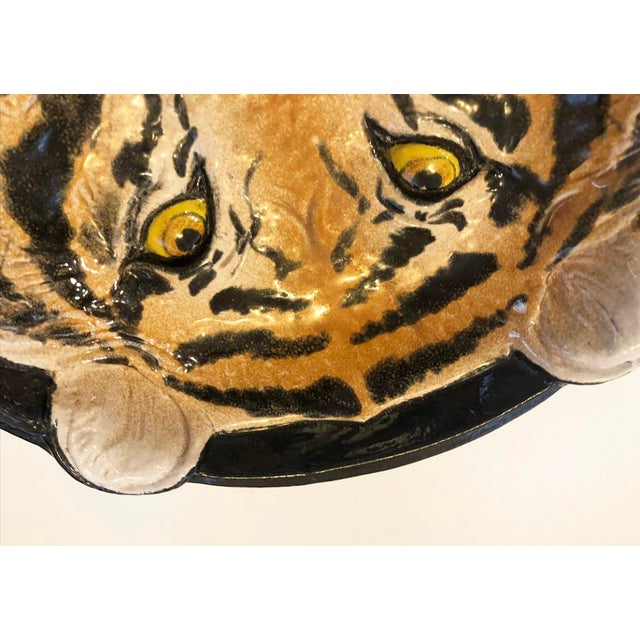 "A vintage Italian treasure. Rare and on-trend anamilia decorative dish. Large, heavy and detailed tiger dish. Marked ""Made..."