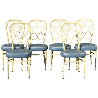 Set of Six Mid Century Modern Yellow & Blue Metal Bistro Chairs For Sale