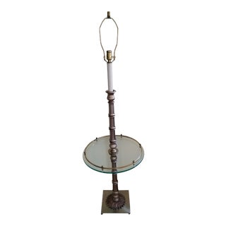 Hollywood Regency Leviton Brass Floor Lamp With Glass Table For Sale