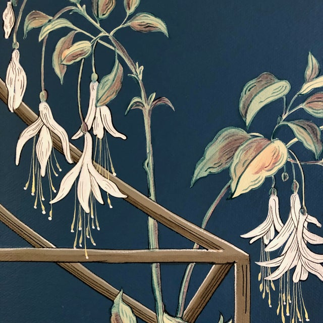 """2020s """"Open House"""" Bird Terrarium Chinoiserie Painting by Allison Cosmos For Sale - Image 5 of 7"""