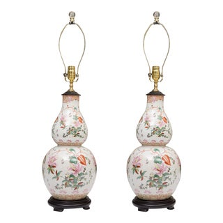 Gourd Shaped Table Lamps with Floral Designs For Sale
