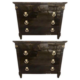 Pair of Jansen Style Hollywood Regency Ebony Commodes, Chests or Nightstands For Sale