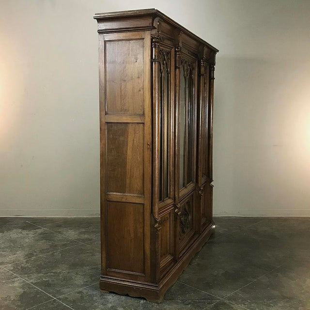 Brown 19th Century Gothic Walnut Triple Bookcase For Sale - Image 8 of 12