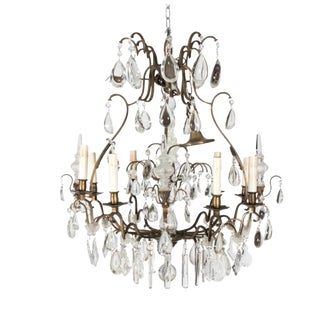 Circa 1900 Crystal Eight Light Chandelier For Sale