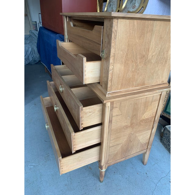 Wood Mid-Century Burled Wood Highboy Dresser For Sale - Image 7 of 13