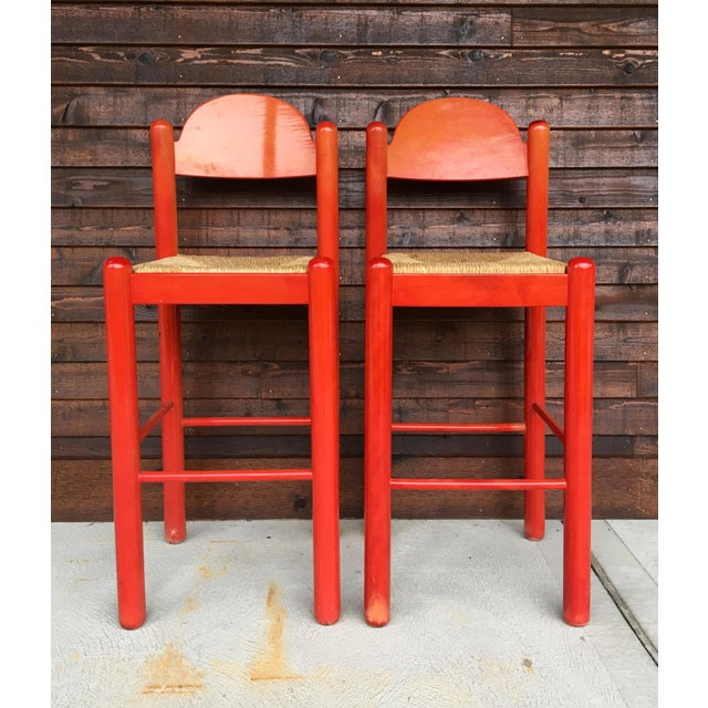 1960s Mid-Century Modern Cassina Style Red Cane Seat Bar Stools - a Pair For Sale - Image 12 of 12