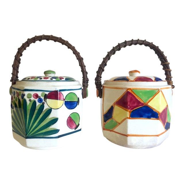 Rare Vintage 1930's Art Deco Japan Hand Painted Porcelain Handled Ceramic Biscuit Barrel Jars - Set of 2 For Sale
