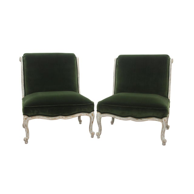 Green Vintage Mid Century French Provincial Green Velvet Slipper Chairs- A Pair For Sale - Image 8 of 8