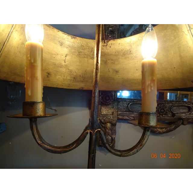 19th Century French Gilded Iron Bouillotte Lamps - a Pair For Sale - Image 9 of 12
