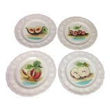 Image of Faience Majolica Pottery Italian Hand Painted Fruit Plates - Set of 4 For Sale