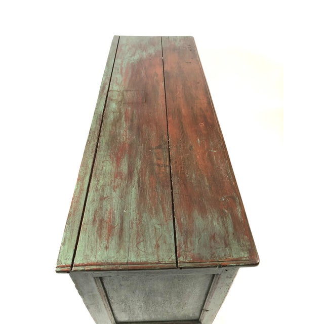 Wood French Country Canadian Green Painted Side Cabinet For Sale - Image 7 of 13