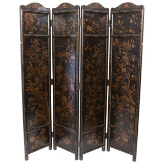 Japanese Meiji Hand Painted Birds and Foliage 4-Fold Screen For Sale