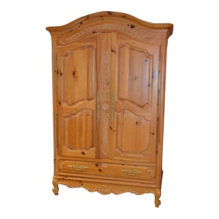 Solid Pine Country French Style Two Door Armoire For Sale