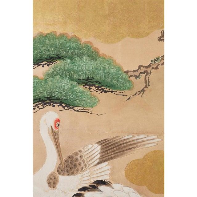 Pair of Japanese Six Panel Meiji Crane Landscape Screens For Sale - Image 9 of 13