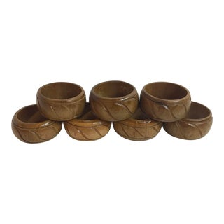 Vintage Wooden Carved Napkin Rings - Set of 7 For Sale