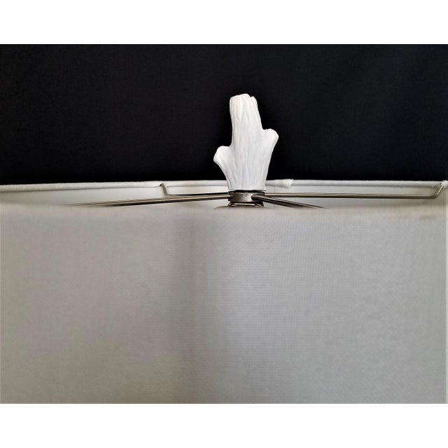 White White Faux Bois Bedside Lamps Inspired by Serge Roche - a Pair Mid-Century Modern Palm Beach Boho Chic Tropical Coastal For Sale - Image 8 of 13