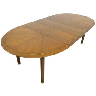 Vintage Michael Taylor for Baker Walnut and Brass Extending Dining Table For Sale
