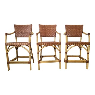 McGuire Bamboo and Woven Rattan Bar Stools - Set of 3 For Sale