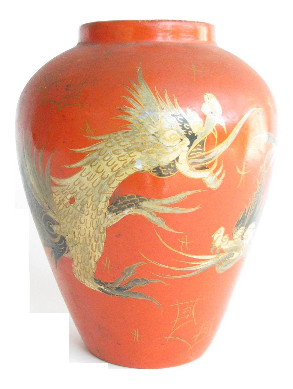 Purple Vase Painted Dragon Vase Vintage Dragon Vase Midcentury Decor Bud Vase