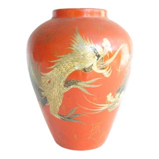 Antique Japanese Eiraku Style Black Pottery Vase With Hand-Painted Dragon Motif For Sale