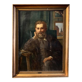 Holger Roed (1846-1874) Large Portrait of His Father, Denmark For Sale