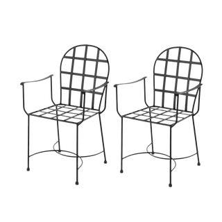 Garden Armchairs in Black Wrought Iron - a Pair